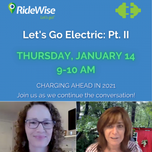 An image for Let's Go Electric events, with Leanne McGowan and Pam Frank.