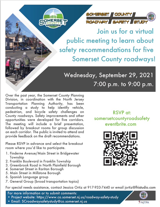 A flyer for the Roadway Safety Study public meeting