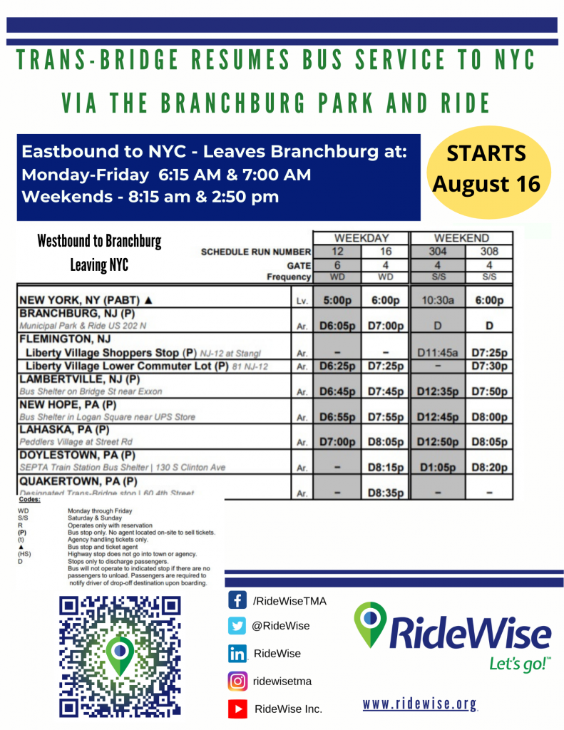 A flyer with the TransBridge schedule.